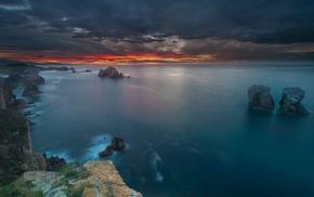 calm, sunset, coast, sky, clouds, sea