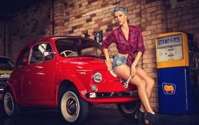vehicle, girl, car, fiat 500, model