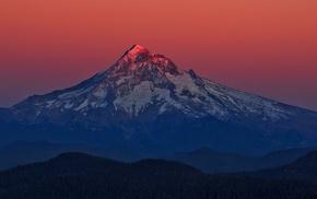 volcano, snowy peak, landscape, nature, sunrise, mountain