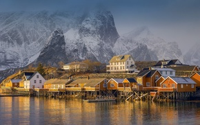 sea, nature, mist, mountain, fjord, village