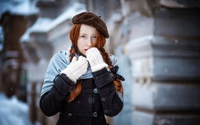 girl, snow, gloves, portrait, redhead, ponytail