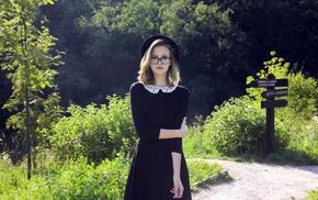 black dress, girl with glasses, girl outdoors, girl, portrait, hat
