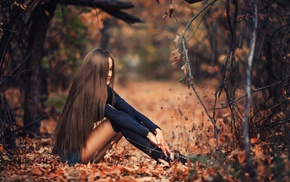 girl outdoors, hair in face, branch, jean shorts, fall, skinny