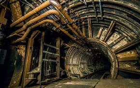 pipes, abandoned, tunnel, urban, rust, architecture