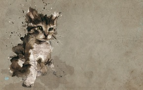 paper, cat, paint splatter, painting, animals, baby animals