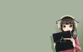 headphones, anime girls, original characters, Pink Floyd, braids