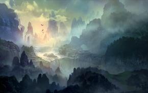 mountain, trees, DeviantArt, mist, river