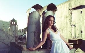 model, white dress, girl, rooftops