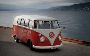 coast, vintage, Volkswagen, tuning, sea, road