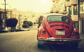 house, USA, California, red cars, Volkswagen, road