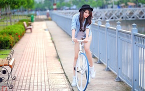 girl, Asian, bicycle
