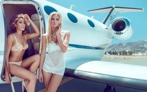 airplane, auburn hair, model, girl, aircraft, girl with planes