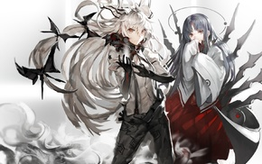 anime, white hair, magic, black hair, Fujiwara no Mokou, headband