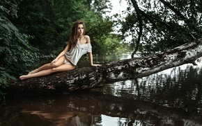 panties, lake, Georgiy Chernyadyev, girl, white panties, painted nails