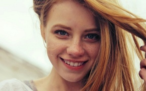 redhead, face, freckles, girl, smiling, blue eyes