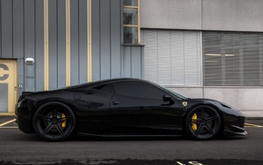 black, car, Ferrari, Ferrari 458