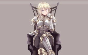 sitting, blonde, anime, blue eyes, original characters, anime girls