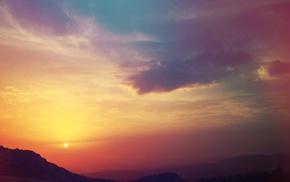 clouds, nature, hill, sky, landscape, sunset
