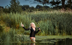 trees, blonde, nature, fishing rod, long hair, fish