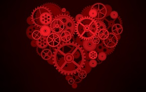 machine, minimalism, simple background, hearts, gears, digital art