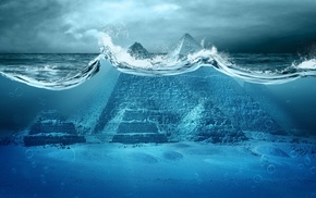 water, photo manipulation, apocalyptic, sea, pyramid, Pyramids of Giza