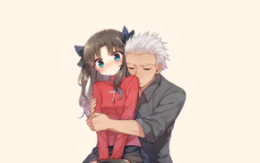 hugging, ribbon, twintails, simple background, Archer FateStay Night, Tohsaka Rin