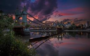 landscape, London, shrubs, river, building, lights