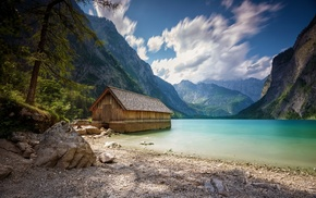 landscape, lake, Alps, beach, nature, trees