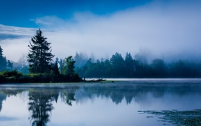 blue, mist, Washington state, reflection, landscape, sunrise