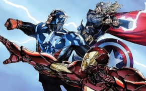 Captain America, Iron Man, Marvel Comics, lightning, superhero, Thor
