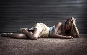 girl, blue eyes, Anastasia Scheglova, on the floor, Dmitry Yushkov, model