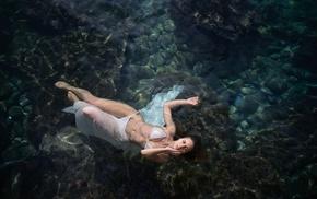 brunette, bikini, model, curvy girl, girl, swimming