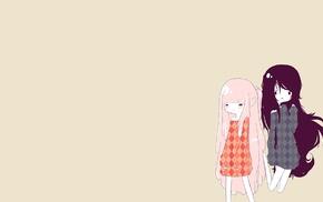 simple background, Princess Bubblegum, Adventure Time, pink, black, Marceline