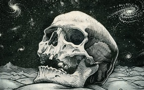 hill, galaxy, stars, digital art, teeth, skull