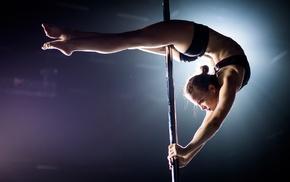 dancing poles, short shorts, girl, sports bra, pole dancing, blonde