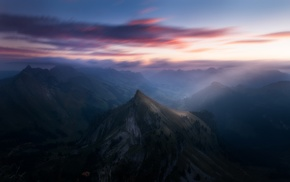 Switzerland, mountain, Alps, clouds, sunrise, valley