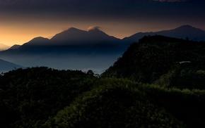 forest, mist, morning, calm, mountain, sunrise