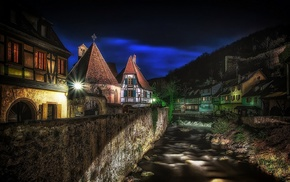 France, lights, urban, hill, architecture, Kaysersberg