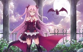 fangs, vampires, pink eyes, anime girls, Owari No Seraph, Krul Tepes