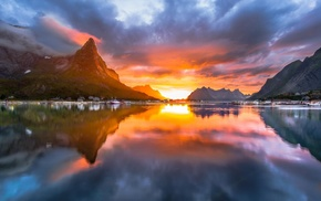 reflection, water, village, sky, landscape, sunset