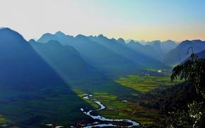 sunrise, mountain, nature, field, shadow, farm