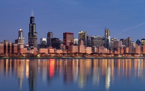 USA, Illinois, city, Chicago, reflection, multiple display