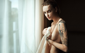 nude, blue eyes, model, girl, tattoo, short hair