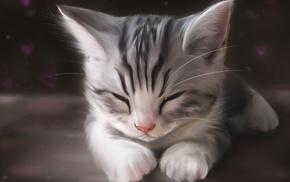 kittens, sleeping, drawing, animals, cat, artwork