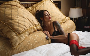 brunette, tattoo, stockings, black bras, Diana Melison, in bed