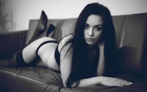 girl, model, bra, couch, panties, stockings