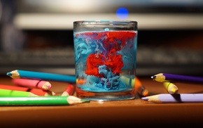 photography, water, table, bokeh, glass, pencils