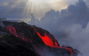 lava, nature, clouds