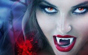 red eyes, blood spatter, juicy lips, vampires, model