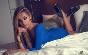 black heels, girl, blonde, dress, high heels, looking away